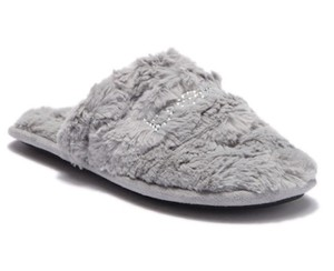 bebe Charee Faux Fur Soft Smooth GREY Mules