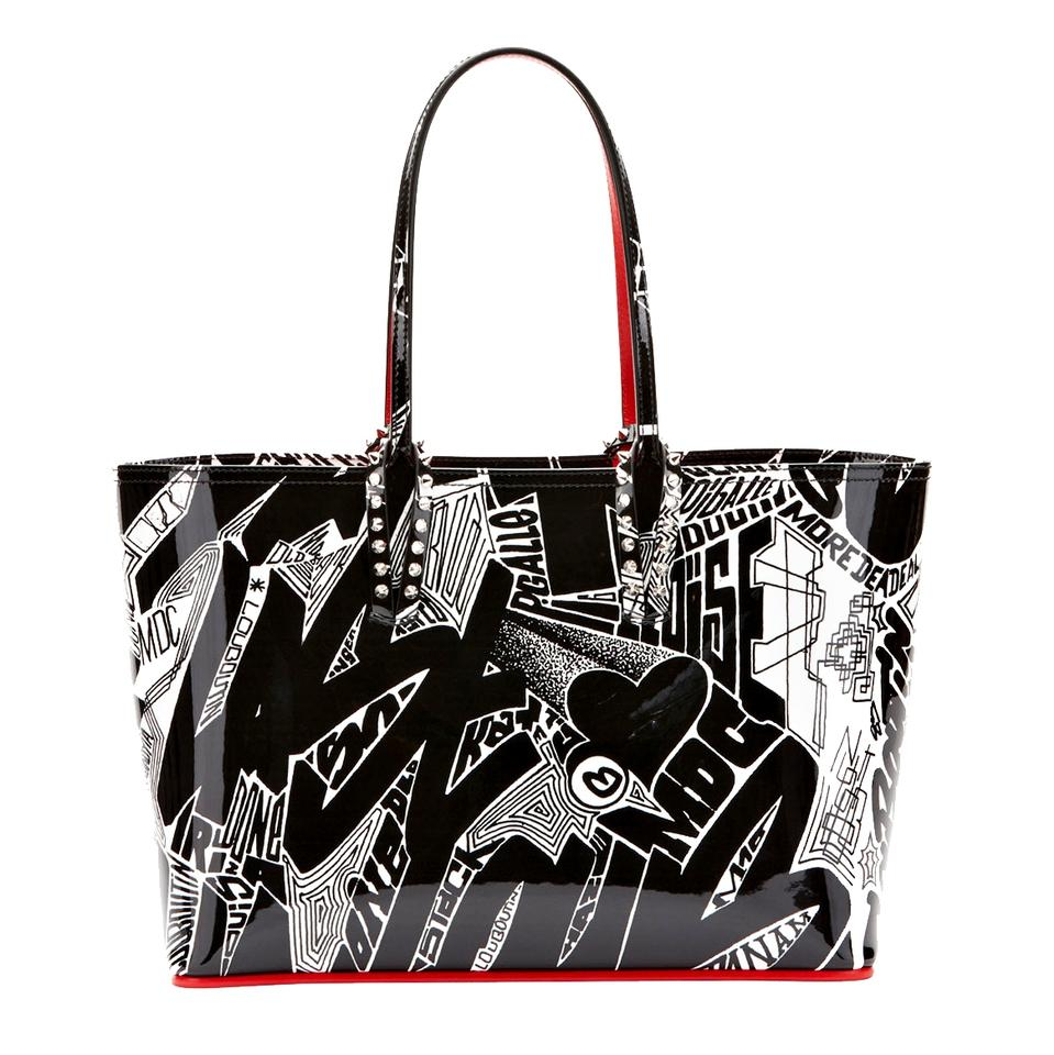 4478eb84a88 Christian Louboutin Cabata Small Loubigraf Black and White Patent Leather  Tote 3% off retail