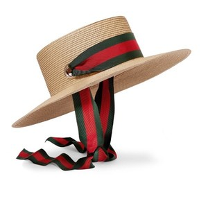 Gucci grosgrain stripe trimmed raffia hat medium