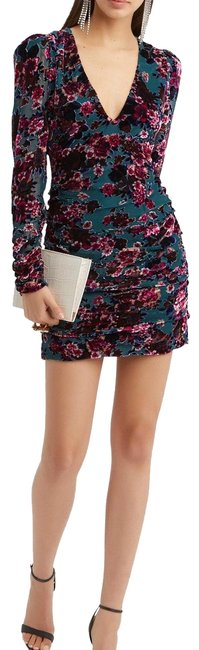 Ronny Kobo Collection Multi Floral Velvet Burnout Ruched Mini Short Cocktail Dress Size 4 (S) Ronny Kobo Collection Multi Floral Velvet Burnout Ruched Mini Short Cocktail Dress Size 4 (S) Image 1
