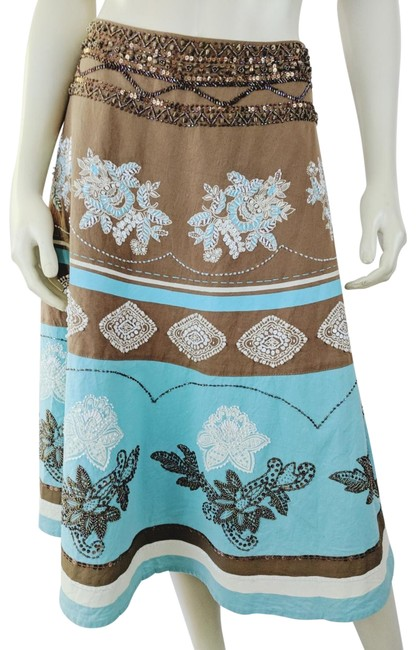 Preload https://img-static.tradesy.com/item/25555285/basil-and-maude-blue-brown-aqua-ivory-cotton-poly-beaded-sequined-skirt-size-8-m-29-30-0-1-650-650.jpg
