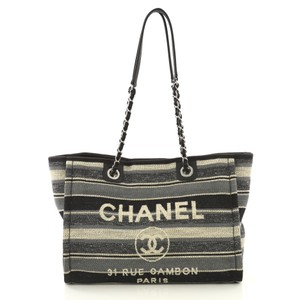 d1c0fe829ff Chanel Deauville With Striped Detail Small Blue and Beige Canvas Tote