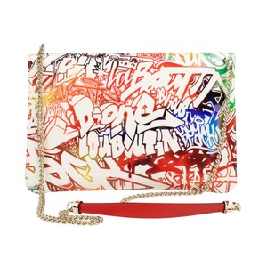 Christian Louboutin Logo Patent Leather Graffiti Chain Pocket Cross Body Bag