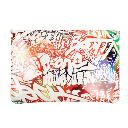 Christian Louboutin Logo Patent Leather Graffiti Chain Pocket Cross Body Bag Image 1