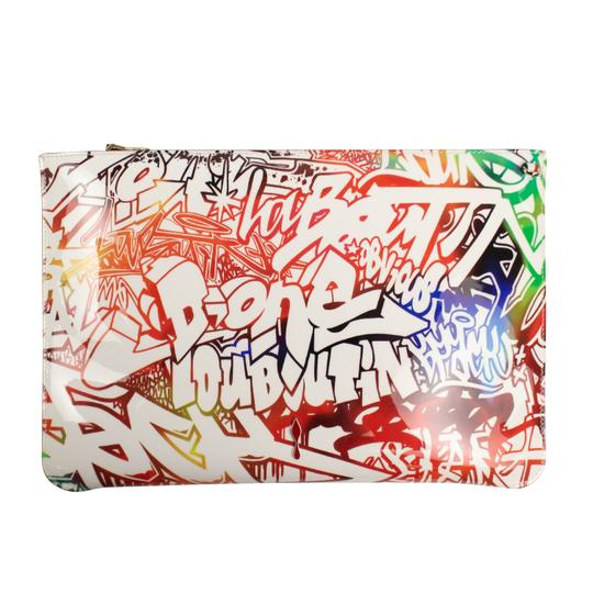 Christian Louboutin Logo Patent Leather Graffiti Chain Pocket Cross Body Bag Image 2
