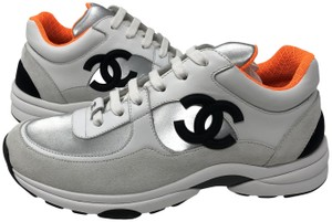 Chanel White/Silver/Orange Athletic