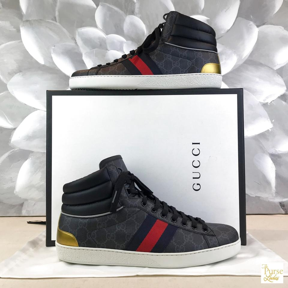 905aff191 Gucci Black Gg Web Lace-up Stripe Men's New Sneakers Size US 10.5 ...