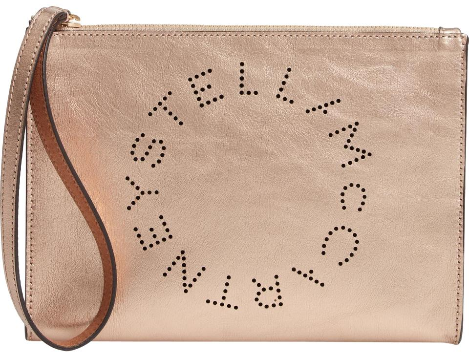 sale retailer huge selection of new styles Stella McCartney Clutch Metallic Faux Nappa Rose Gold Leather Wristlet 28%  off retail