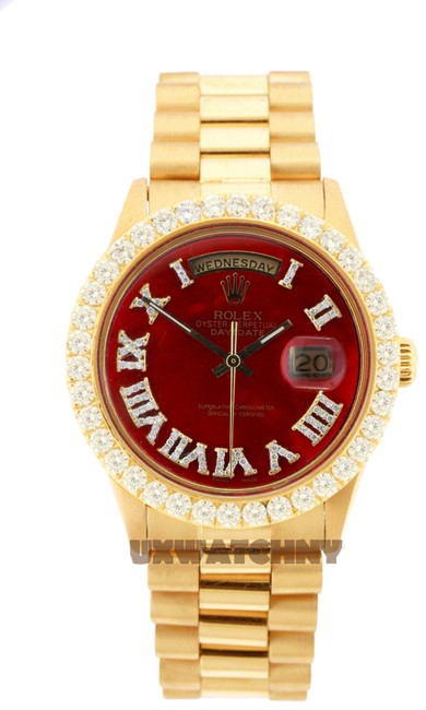 Rolex Red Dial 3ct 36mm Datejust 18k Gold Presidential with & Appraisal Watch Rolex Red Dial 3ct 36mm Datejust 18k Gold Presidential with & Appraisal Watch Image 1