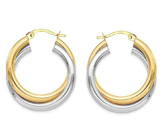 Preload https://img-static.tradesy.com/item/25555855/-14k-yellow-gold-two-tone-intertwined-925-silver-round-hoop-earrings-0-0-540-540.jpg