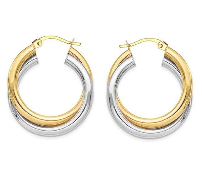 ** 14k Yellow Gold Two Tone Intertwined .925 Silver Round Hoop Earrings ** 14k Yellow Gold Two Tone Intertwined .925 Silver Round Hoop Earrings Image 1