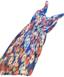 blue, orange, white and red print Maxi Dress by Rory Beca