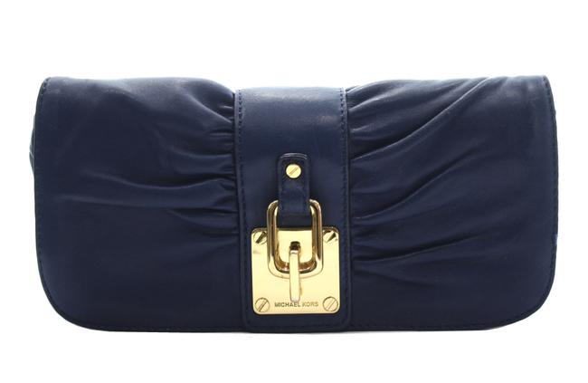 Item - Pleated Blue Leather Clutch