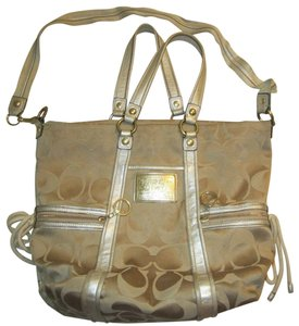Coach Poppy Spotlight 13847 Bucket Tote in Beige, Gold