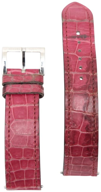 Item - Pink Leather Strap Alligator Band Stainless Steel Buckle Watch