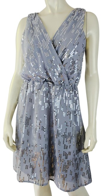Item - Gray Silver Sequins Lined Poly Mid-length Cocktail Dress Size 6 (S)