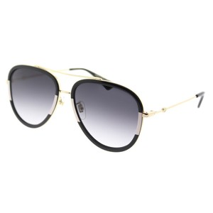 Gucci Gucci GG0062S 006 Black White Aviator Sunglasses NEW