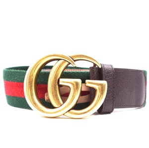 Gucci RARE Marmont GG logo stripe gold buckle Belt size 80 32