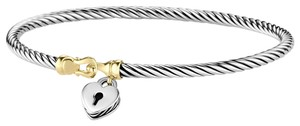 David Yurman 8K yellow gold sterling silver David Yurman Heart Lock cable bracelet