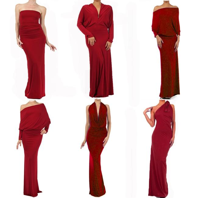 red Maxi Dress by Sexy Diva Reversible Maxi V-neck Stretchy Plus-size Image 1