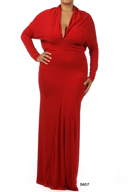 red Maxi Dress by Sexy Diva Reversible Maxi V-neck Stretchy Plus-size Image 2