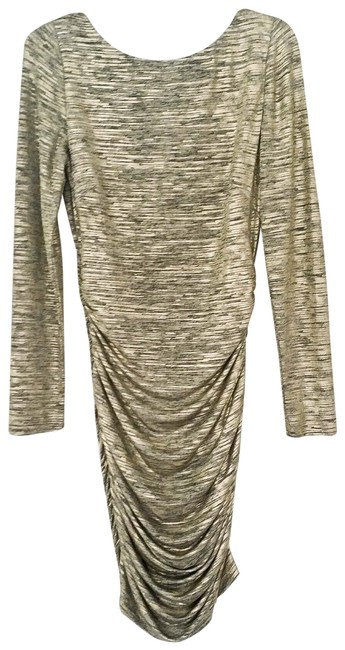 Item - Gold Grey Sanders Mid-length Cocktail Dress Size 10 (M)