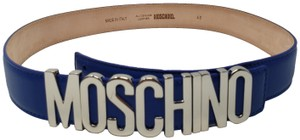 Moschino Blue leather Moschino silver-tone letter logo buckle belt