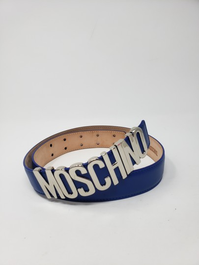 Moschino Blue leather Moschino silver-tone letter logo buckle belt Image 11