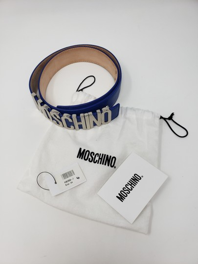 Moschino Blue leather Moschino silver-tone letter logo buckle belt Image 2