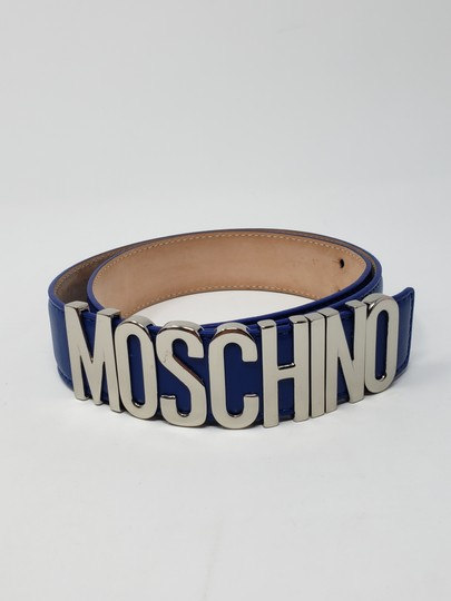 Moschino Blue leather Moschino silver-tone letter logo buckle belt Image 4
