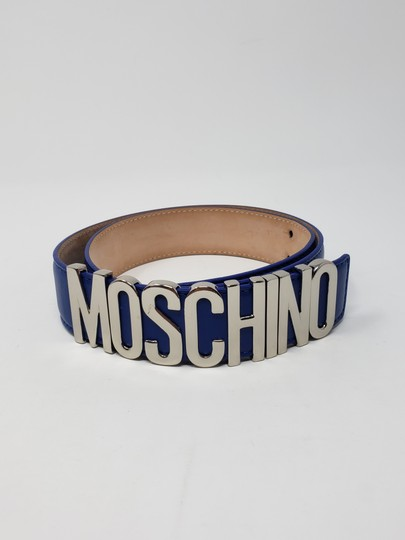 Moschino Blue leather Moschino silver-tone letter logo buckle belt Image 5