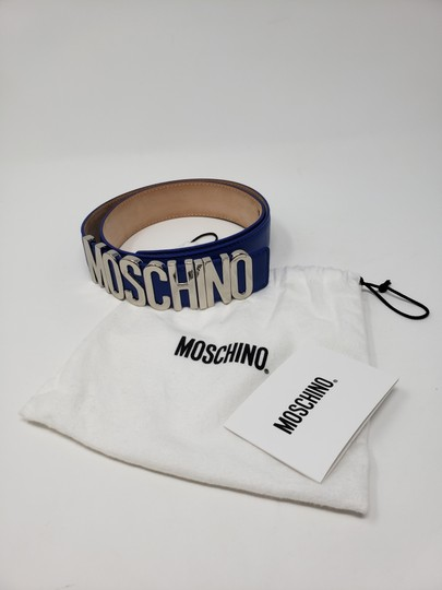 Moschino Blue leather Moschino silver-tone letter logo buckle belt Image 6