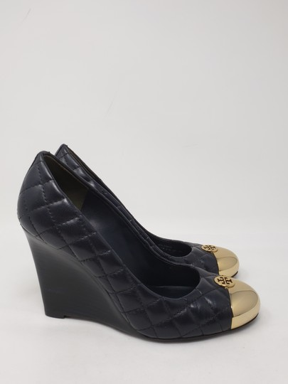 Tory Burch Gold Hardware Quilted Reva Miller Kaitlin Blue Wedges Image 4