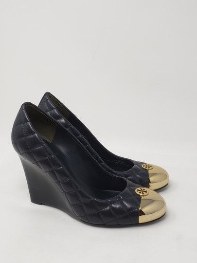 Tory Burch Gold Hardware Quilted Reva Miller Kaitlin Blue Wedges Image 5