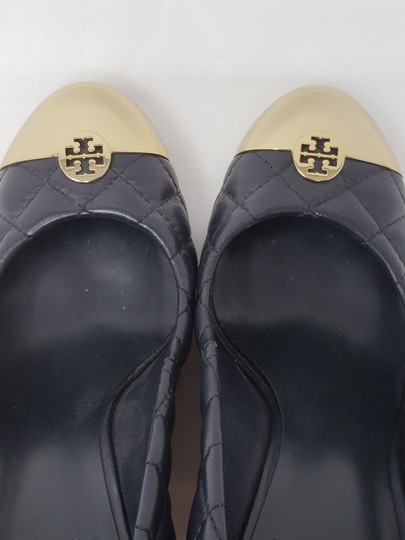 Tory Burch Gold Hardware Quilted Reva Miller Kaitlin Blue Wedges Image 8