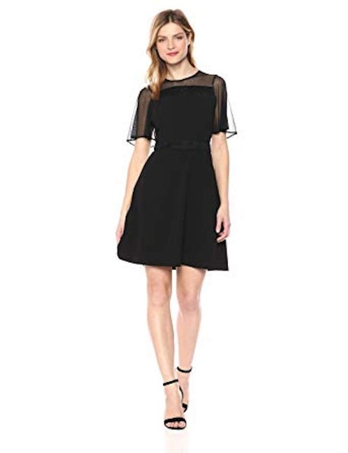 Preload https://img-static.tradesy.com/item/25556831/kensie-black-women-s-with-mesh-sleeves-lace-inset-short-casual-dress-size-4-s-0-0-650-650.jpg
