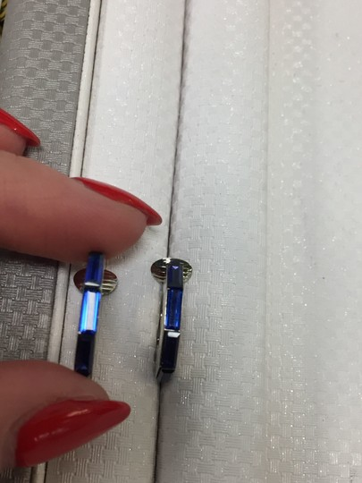 Dior Silver Tone Hardware with Blue Crystal Clip On Earrings Image 4