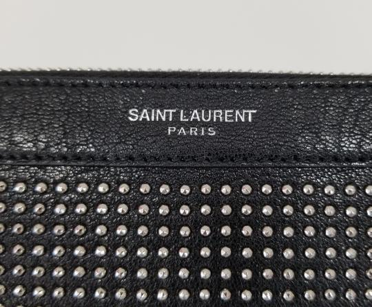Saint Laurent Studded Leather Pouch Ipad Black Clutch Image 1