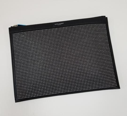 Saint Laurent Studded Leather Pouch Ipad Black Clutch Image 6
