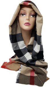 Burberry Brown multicolor Burberry House Check metallic knit scarf