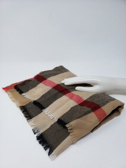 Burberry Brown multicolor Burberry House Check metallic knit scarf Image 11