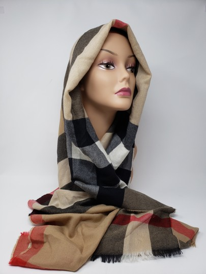 Burberry Brown multicolor Burberry House Check metallic knit scarf Image 2