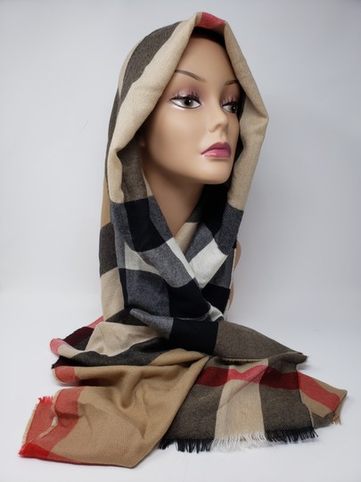 Burberry Brown multicolor Burberry House Check metallic knit scarf Image 5