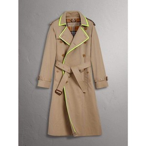 Burberry Honey Beige W Canvas Trench Coat W/Neon Green Trim 52/Us 42 4069176 Groomsman Gift