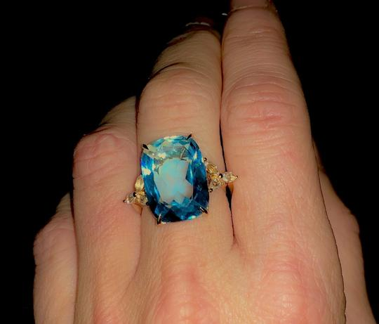 Other Topaz 18K Yellow Gold Art Deco Cocktail Ring Image 3