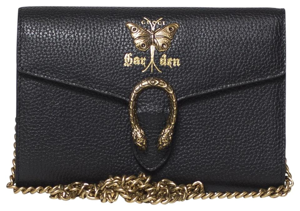 8021617113 Gucci Wallet on Chain Dionysus Gardens Black Leather Cross Body Bag