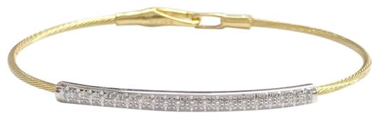 Preload https://img-static.tradesy.com/item/25557121/elegant-great-condition-14-karat-yellow-gold-and-14-karat-white-gold-wide-cable-diamond-bracelet-0-1-540-540.jpg