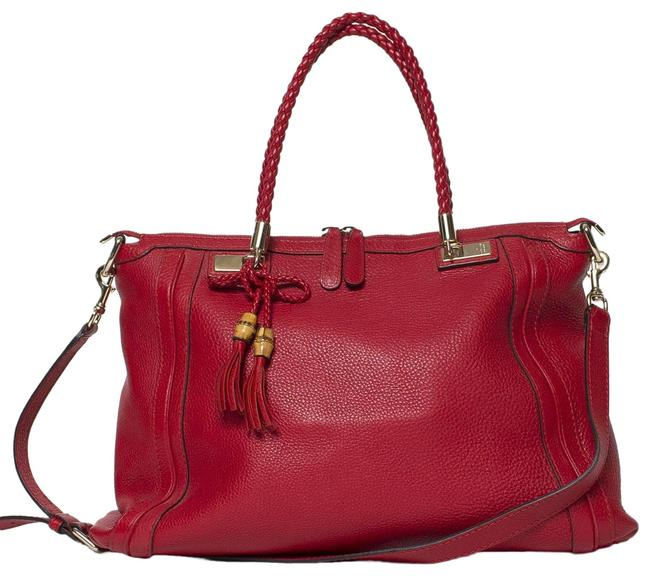 Gucci Pebbled Two-way Bella Red Leather Tote Gucci Pebbled Two-way Bella Red Leather Tote Image 1