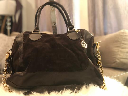 Audrey Brooke Satchel in Brown/ Chocolate with gold trimmings Image 1