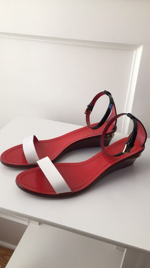 Tory Burch Black, White, Red, Gold Sandals Image 1
